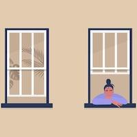 Illustration montrant deux fenêtres avec une femme seule au bord de l'une d'elle.