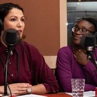 Portrait des deux femmes au micro de l'émission.