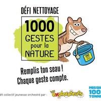 Un dessin d'un écureil qui tient un seau avec les logos des organismes et le slogan : remplis ton seau! Chaque geste compte.