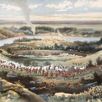 La prise de Batoche par Grundy. La toile représente des militaires canadiens en grand nombre, vêtus de leurs uniformes rouges, attaquant des Métis dont les corps meurtris reposent au sol. Au loin, des volutes de fumée.