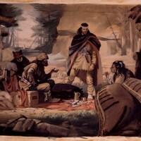 Des Autochtones et des coureurs des bois discutent autour d'un repas en forêt.