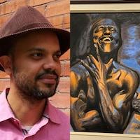L'artiste interdisciplinaire Shoko César et son tableau Spirit sur lequel on peut voir un homme rire de bon coeur.