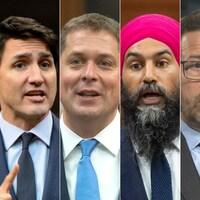 Image montrant Justin Trudeau, Andrew Scheer, Jagmeet Singh, Yves-François Blanchet, Elizabeth May et Maxime Bernier.