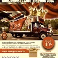 Un camion de déménagement avec une couronne.