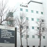 Vue de l'édifice où se trouve le laboratoire national de microbiologie à Winnipeg