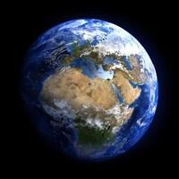La planète Terre avec des nuages, l'Afrique et l'Europe.