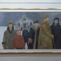 Un peinture de Jean-Paul Lemieux qui présente 6 personnes devant une église.