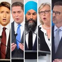 Montage montrant les visages des six chefs des principaux partis politiques au fédéral lors d'un débat.