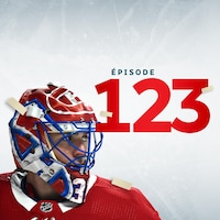 Le gardien de but Carey Price sur fond blanc avec inscription épisode 123 en surimpression ainsi que le logo Tellement Hockey
