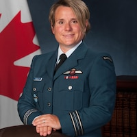 Official Portrait of Maj Genevieve Dussault taken at 17 Wing, Winnipeg on August 10, 2017.  Photo by Cpl Paul Shapka