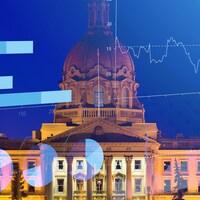 Photo de l'Assemblée législative de l'Alberta avec des graphiques surimposés.