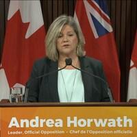 Andrea Horwath, chef de l'opposition en Ontario, parle devant des microphones. Au second plan se dressent des drapeaux canadiens et ontariens.