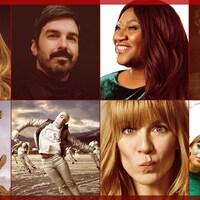 Montage photo des artistes Lara Fabian, Damien Robitaille, Mélissa Bédard, Les Trois Accords, Gurdeep Pandher, Borealis Soul, Véronic DiCaire et Les Hay Babies.