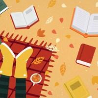Une illustration d'un couple sur une couverture à l'extérieur entourée de livres et de feuille d'arbres.