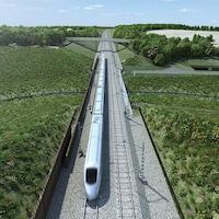 Illustration d'un train au milieu de champs.