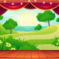 Une illustration d'une scène de théâtre qui ouvre sur un paysage de nature avec des arbres et un lac.