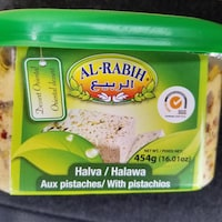 Un récipient de halva de la marque Al-Rabih.