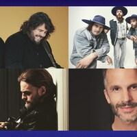 Montage photo de artistes 2Frères, Bleu Jeans Bleu, Boom Desjardins et Steve Veilleux.