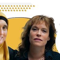 Monia Mazigh est à gauche et Martine Delvaux est à droite