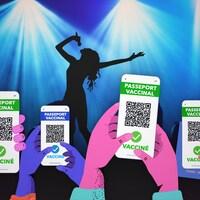 Illustration de plusieurs paires de mains qui tiennent des téléphones mobiles affichant un passeport vaccinal devant une scène de spectacle.