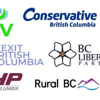 Les logos de 7 petits partis : Wexit BC, CHP BC, Conservative BC, Communist Party of BC, BCV, BC Libertarian Party et Rural BC Party.