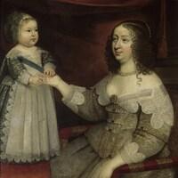 un tableau représentant une mère et son bambin.