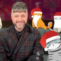 Pierre Lapointe avec des chats.