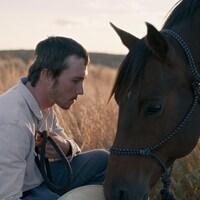 Dans un champ, un homme accroupi à côté de son cheval qui broute.