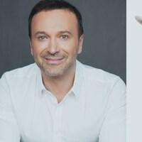 Un montage photo de Joël Legendre et d'un agneau.