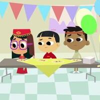 C'est la fête et tout est décoré. Sam, Lili et Eddie sont devant une table où sont servis des samossas.