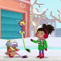 Ils jouent au hockey dans la neige