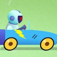 Un petit robot prend place dans une voiture téléguidée.