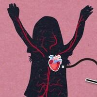 100 000 : Sur la silhouette d'une jeune athlète est illustré le coeur et le réseau des veines.