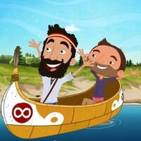 Deux personnages sont dans un canot et lèvent les bras de joie.