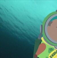 Le petit castor Parka est sous l'eau dans un costume de scaphandrier