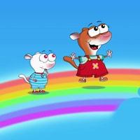 YaYa et Zouk sont dans le ciel, debout sur un arc-en-ciel.