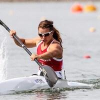 Andréanne Langlois dans son kayak