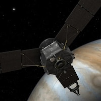Artist concept of Juno approaching Jupiter after a trip of close to 3 billion kilometers through space.