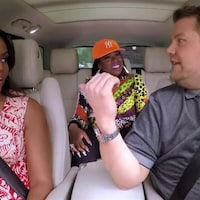 Michelle Obama, Missy Elliott et l'animateur James Corden dans un segment de l'émission « The Late Late Show ».