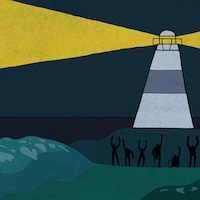 Une illustration de Florence Rivest dans laquelle on voit des personnes issues de minorités qui sont dans l'ombre, en dehors de la lumière du faisceau d'un phare.