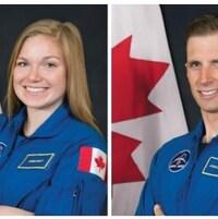 Portrait d'une femme et portrait d'un homme devant le drapeau canadien.