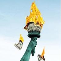 La statue de la Liberté brûlant des billets de banque.