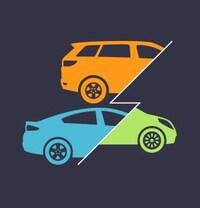 Dessin de trois voitures électriques séparées par un éclair.