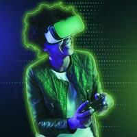 Un adolescent portant un casque de réalité virtuelle joue à un jeu vidéo à l'aide d'une manette.