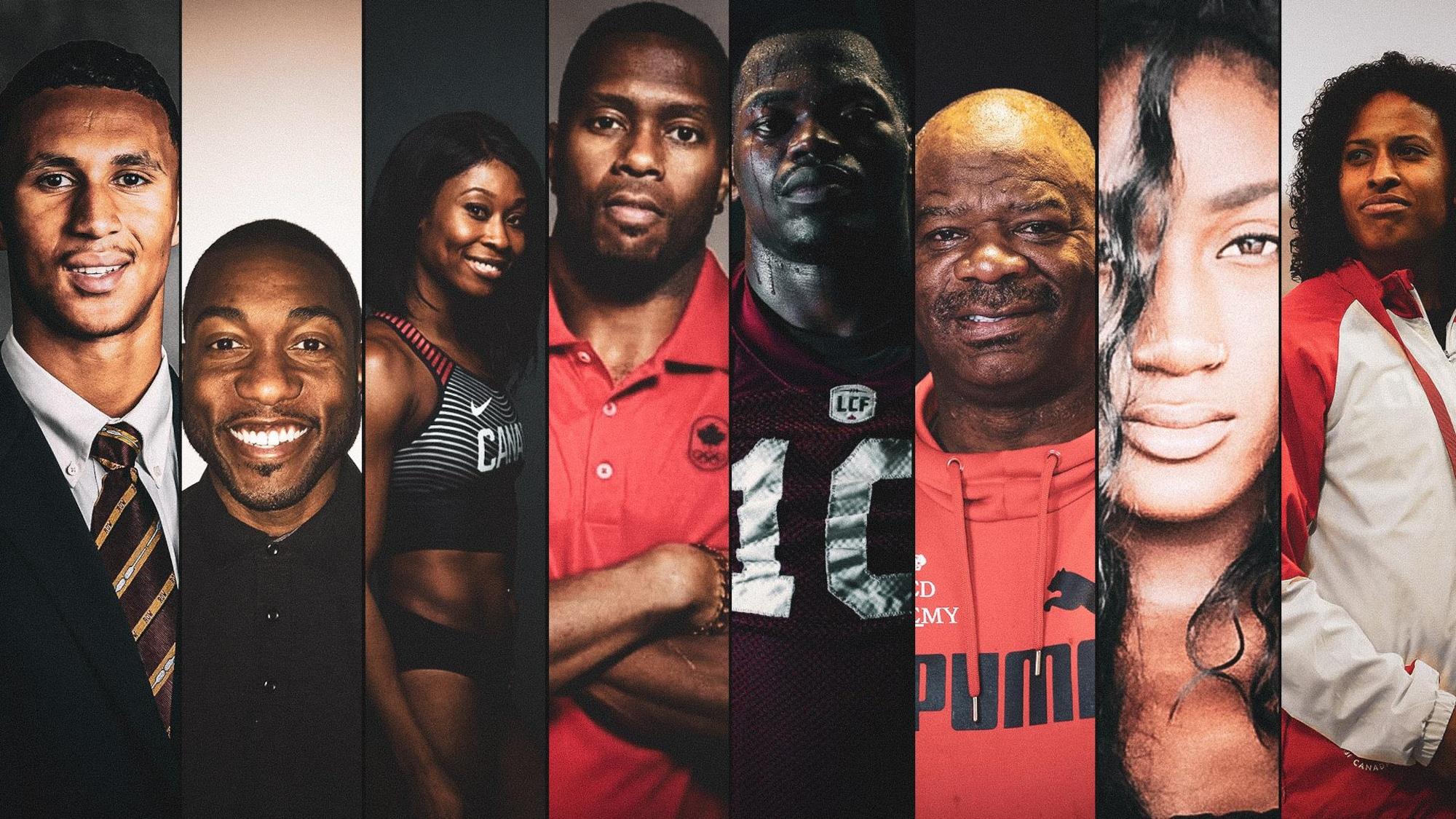 Benjamin St-Juste, Danny Desriveaux, Farah Jacques, Hank Palmer, Hénoc Muamba, Tony Sharpe, Katherine Surin et Angela Whyte fixent la caméra.