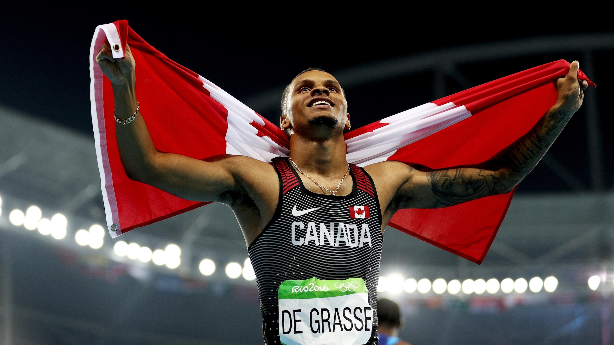 Andre De Grasse a marqué l'histoire aux Jeux olympiques de Rio grâce à ses trois médailles dans les épreuves de sprint.