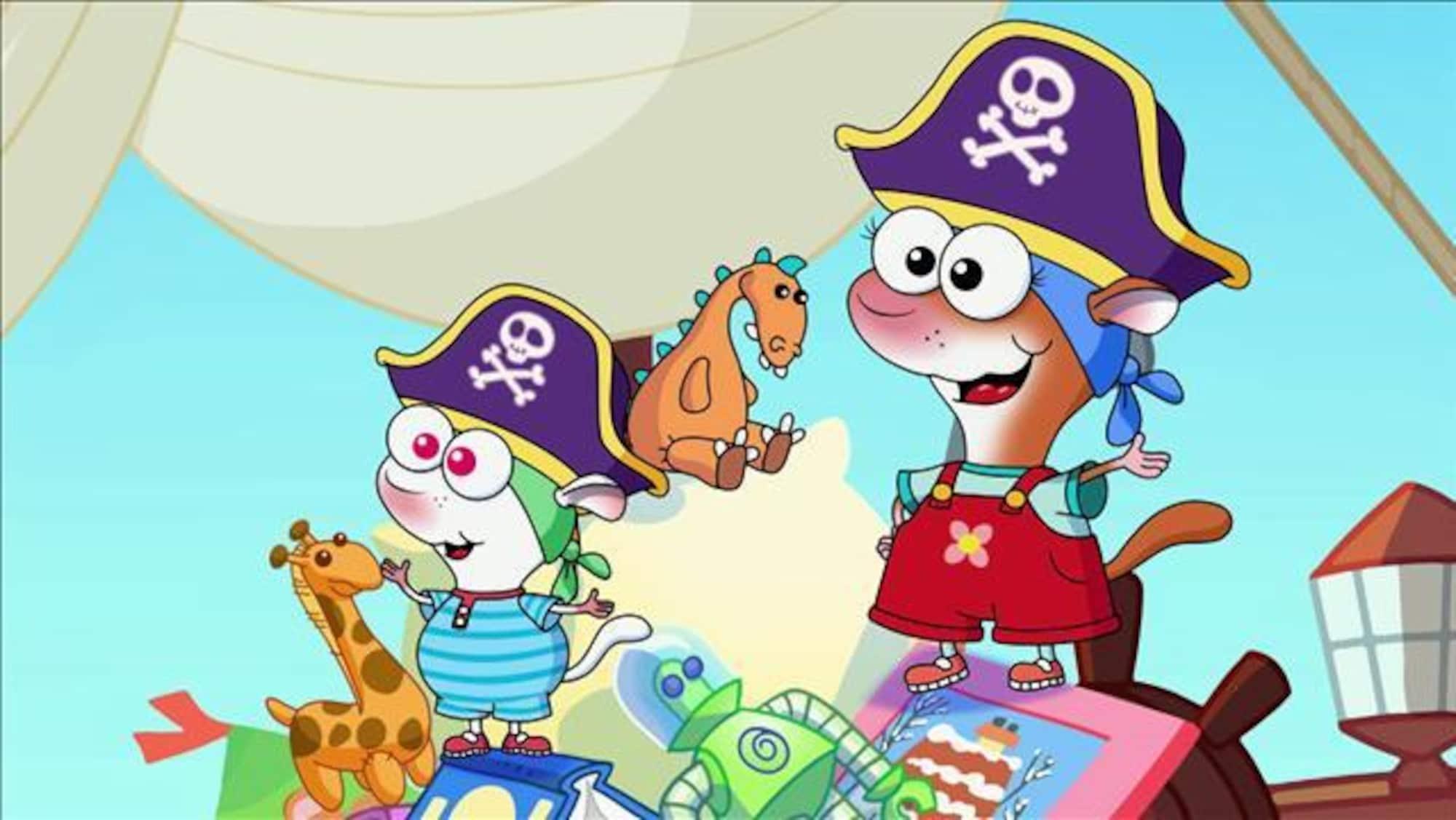 YaYa et Zouk sont habillés en pirate et ont l'air de bien s'amuser avec leurs amis.