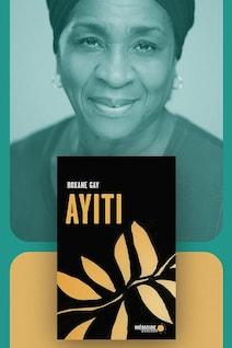 Montage visuel avec le visage de l'auteure et la couverture de son livre.