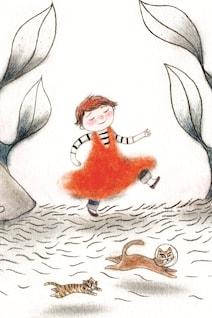 Une couverture de livre pour enfants montrant un petit garçon marchant dans une robe orange