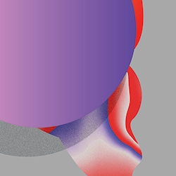 Le logo du Festival International de Jazz de Montréal : un rond mauve avec une silhouette rouge.